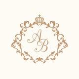 Rocznika monograma szablon Zdjęcia Royalty Free