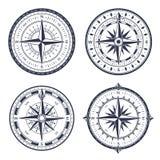 Rocznika morza kompas Retro zachodni i wschód, północ i południe strzała Nawigacja kompasy z różą wiatr odizolowywali wektor ilustracja wektor