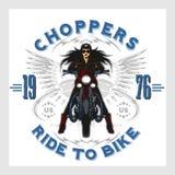 Rocznika motocyklu garażu silnika klubu emblemat z seksowną dziewczyną Zdjęcie Stock