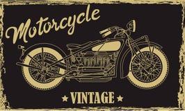 Rocznika motocyklu ręka rysująca wektorowa ilustracja z literowaniem obrazy stock