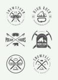 Rocznika mountaineering arktyczni logowie, odznaki, emblematy royalty ilustracja