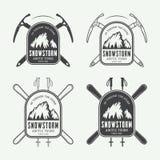 Rocznika mountaineering i arktyczni wyprawa logowie, odznaki Fotografia Stock
