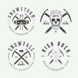 Rocznika mountaineering i arktyczni wyprawa logowie, odznaki, emb royalty ilustracja