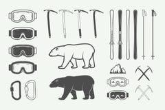 Rocznika mountaineering projekta arktyczni elementy ilustracja wektor