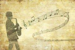 Rocznika muzykalny tło z saksofonistą Fotografia Royalty Free