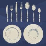 Rocznika nóż, rozwidlenie, łyżka i naczynia w nakreślenia rytownictwie, projektujemy cutlery ustalony projekt royalty ilustracja