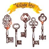 Rocznika nakreślenia klucze Zdjęcia Royalty Free