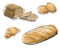 Rocznika nakreślenia stylu piekarni ręka rysujący set Ręka rysująca dekoracyjna chlebowa piekarnia również zwrócić corel ilustrac Zdjęcia Stock
