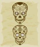 Rocznika nakreślenie cukrowa czaszka royalty ilustracja