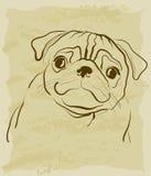 Rocznika nakreślenie mopsa pies ilustracja wektor