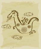 Rocznika nakreślenie smok ilustracja wektor