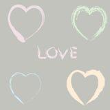 Rocznika nakreślenia valentine karta z sercami Ilustracji