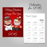 Rocznika nastania kalendarz z Santa i bałwanem Zdjęcie Royalty Free