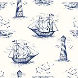 Rocznika Nautycznego Toile De Jouy Wektor pociągany ręcznie Bezszwowy wzór z latarnią morską, Seagulls, nadmorski scenerią i stat royalty ilustracja