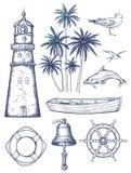 Rocznika nautyczny set ilustracja wektor