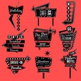 Rocznika neonowy znak czarny i biały Zdjęcia Royalty Free