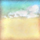 Rocznika niebo chmurnieje stary papier textured tło Fotografia Royalty Free