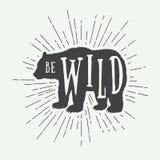 Rocznika niedźwiedź z sloganem royalty ilustracja