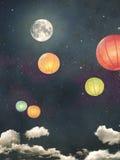 Rocznika nocnego nieba tło Obrazy Stock
