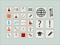 Rocznika nowożytny wektorowy ustawiający ikony dla nauki ilustracja wektor