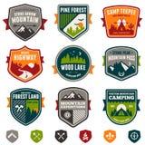 Rocznika obozu i podróży odznaki Zdjęcia Stock