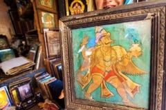 Rocznika obrazek z Garuda ptakiem w retro ramie pchli targ Fotografia Royalty Free