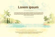 Rocznika oceanu Tropikalna plaża z drzewkiem palmowym Retro ilustracja wektor