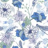 Rocznika ogród kwitnie wektorowego bezszwowego wzór royalty ilustracja