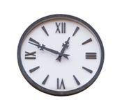 Rocznika okręgu ścienny zegar odizolowywający na bielu Zdjęcia Stock
