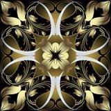 Rocznika Paisley kwiecistego złocistego adamaszka Barokowy wektorowy bezszwowy patte zdjęcia stock