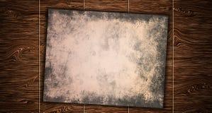 Rocznika papier na starym drewnianym stołowym desktop obraz royalty free