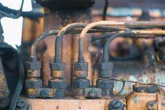 Rocznika parowozowy samochodowy system Część stary silnik diesla ciężki tr Zdjęcia Stock