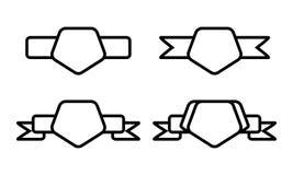 Rocznika pentagonu czarny kształt z faborkiem na białym tle Zdjęcie Royalty Free