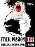 Rocznika plakat, dziewczyna, moda ilustracji
