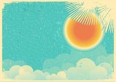 Rocznika plakat niebieskie niebo i chmury na starym papierze ilustracja wektor