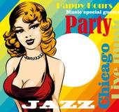 Rocznika plakat z retro kobieta piosenkarzem Rewolucjonistki suknia na kobiecie mikrofon retro Jazz, dusza i błękita muzyka na ży Obrazy Royalty Free