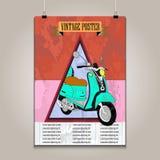 Rocznika plakat z wysoką szczegół hulajnoga grunge Zdjęcia Stock