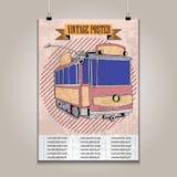 Rocznika plakat z wysokim szczegółu tramwajem Obraz Stock