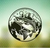 Rocznika połowu łososiowi emblematy Obraz Royalty Free