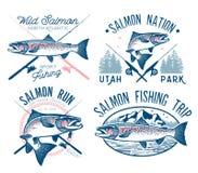 Rocznika połowu łososiowi emblematy Zdjęcia Royalty Free