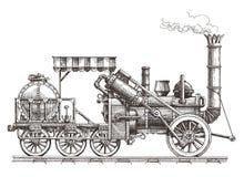 Rocznika pociąg na białym tle nakreślenie royalty ilustracja