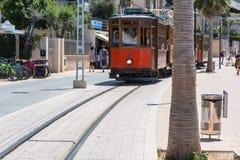 Rocznika pociąg, tramwaj w Portowym De Soller, Mallorca Zdjęcia Royalty Free