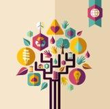 Rocznika pojęcia zielony drzewo Zdjęcie Royalty Free
