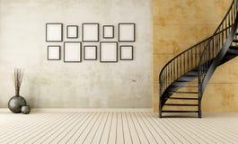 Rocznika pokój z kółkowym schody ilustracja wektor