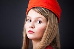 Rocznika pomarańczowy kapeluszowy portret Zdjęcia Royalty Free