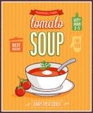 Rocznika Pomidorowy Zupny plakat Zdjęcie Stock