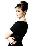 Rocznika portret piękna młoda elegancka kobieta zdjęcie stock