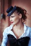 Rocznika portret piękna dziewczyna Zdjęcie Royalty Free