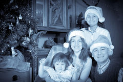 Rocznika portret szczęśliwa rodzina obrazy stock