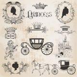 Rocznika Princess dziewczyna set Obrazy Royalty Free